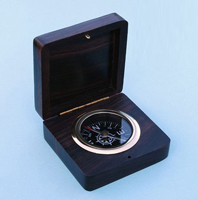 Rosewood Desk Compass w/ Hand Inlaid Compass Rose