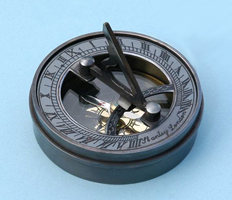 Small Antique Patina Brass Sundial/Magnetic Compass w/ Lid