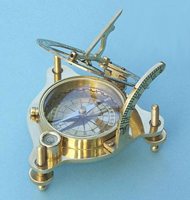 Brass Sundial/Magnetic Compass w/ Spirit Level & Hardwood Case