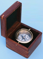 Gimbaled Boxed Compass with Hand Inlayed Compass Rose