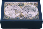 Black Lacquered Nautical Old World Map Box