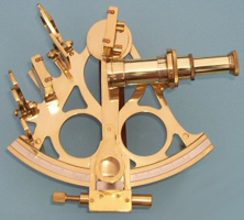 British Captain's Brass Sextant w/ Hardwood Case