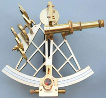 Eight-inch Vernier Brass Sextant w/ Wood Box