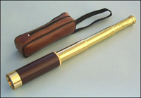 25x30 Brass/Leather-Sheathed Telescope w/ Case