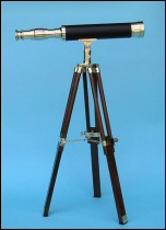 19-inch Polished Brass/Leather Sheathed Telescope on Hardwood Tripod