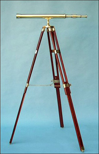 30-inch Polished Brass Telescope on Hardwood Tripod