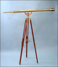 55-inch Polished Brass Harbormaster Telescope on Mahogany Tripod