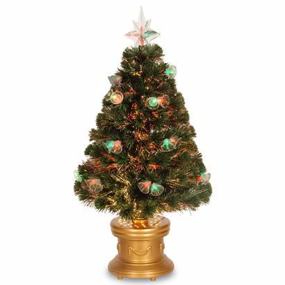36 In. Fiber Optic Fireworks Christmas Tree with Double Bells