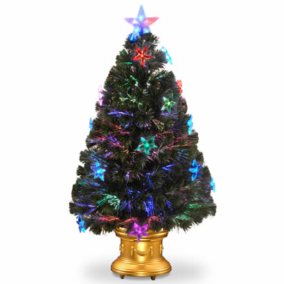 36 In. Fiber Optic Fireworks Christmas Tree with Clear Star and LEDs