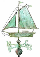 Small Antique Copper Sloop Weathervane