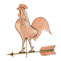 Polished Copper Big Rooster Weathervane