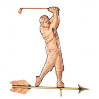 Polished Copper Traditional Golfer Weathervane