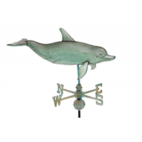 Extra Large Antique Copper 3-D Dolphin Weathervane