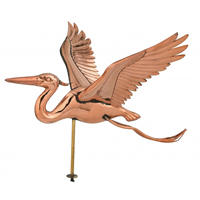 Polished Copper Heron Cottage Size Weathervane