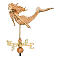 Polished Copper 3-D Mermaid Weathervane