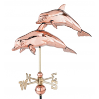 Polished Copper 3-D Double Dolphin Weathervane