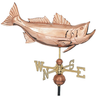 Polished Copper Jumping Bass Weathervane