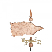 Polished Copper Eagle Flag Weathervane