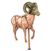 Polished Copper 3-D Ram Weathervane