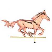 Polished Copper Horse On The Run Weathervane