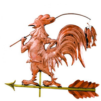 Polished Copper Fishing Rooster Weathervane