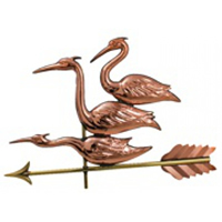 Polished Copper Three Herons Weathervane