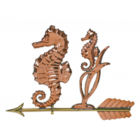 Polished Copper Seahorse Weathervane