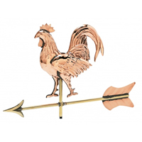 Polished Copper 3-D Rooster Cottage Size Weathervane