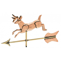 Polished Copper 3-D Jumping Deer Cottage Size Weathervane