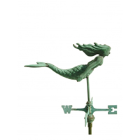 Antique Copper 3-D Mermaid Cottage Size Weathervane