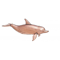 Polished Copper 3-D Hanging Dolphin