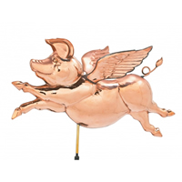 Polished Copper Hanging Flying Pig