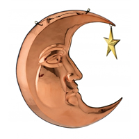 Polished Copper Hanging Moon & Star