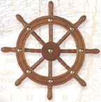 Wooden Ship Wheel Wall Plaque