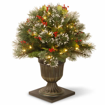 26 In. Wintry Pine Porch Christmas Bush with 50 Clear Lights