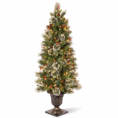 5 Ft. Wintry Pine Entrance Christmas Tree w/ Cones & 100 Clear Lights