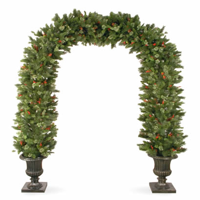 8 1/2 Ft. Pine Christmas Archway Decoration with Cones and Snowflakes