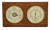 Brass Barometer & Thermometer/Hygrometer on Oak