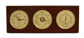Brass Quartz Clock, Barometer & Thermometer/Hygrometer on Mahogany