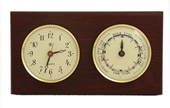 Brass Quartz Clock & Tide Clock on Mahogany