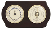 Brass Tide Clock & Barometer/Thermometer on Ash
