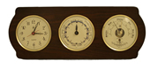 Brass Quartz Clock, Tide Clock & Barometer/Thermometer on Ash