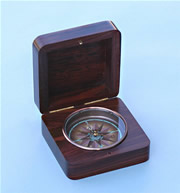 Hinged Rosewood Captain's Desk Compass