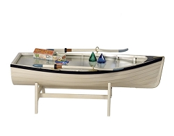 Boat Table/Bookshelf with Glass
