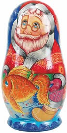 Artistic Wood Carved Russian Matreshka Santa Claus Sculpture