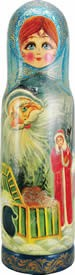 Wood Carved Russian Matreshka Fairytale Santa Claus Bottle Holder