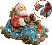 Artistic Wood Carved Speedy Delivery Santa Claus Sculpture
