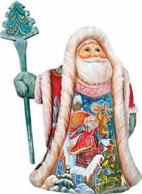 Artistic Wood Carved Rooftop Santa Claus Sculpture