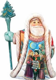 Artistic Wood Carved Christmas Carol Santa Claus Sculpture