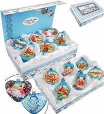 Set of Twelve Hand Painted Glass Christmas Ornaments with Gift Box